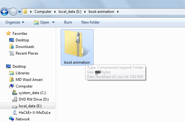 create boot animation-zip file
