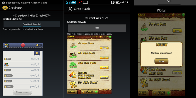 hack in app purchase creehack